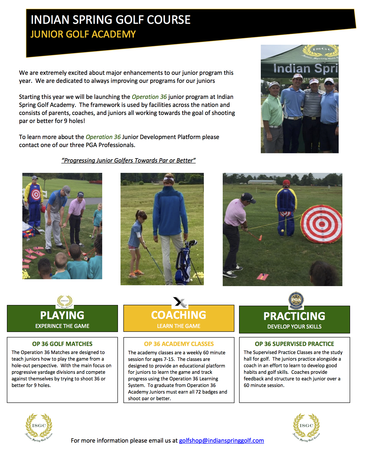 IGrow Golf Academy Flyer